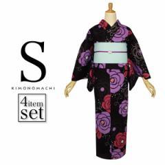 【あす着対応】 Sサイズ 浴衣セット 黒色 薔薇 スモールサイズ女性浴衣セット 小物が選べる 浴衣4点セット 定番 yk01