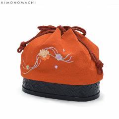 【あす着対応】 刺繍 籠巾着「オレンジ色 桜の刺繍」 袴巾着 巾着バッグ単品 卒業式 修了式 日本製