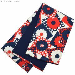 木綿 半幅帯「ネイビー×レッド レトロフラワー」カジュアル 長尺もあります 洒落帯 コットン細帯 日本製