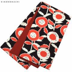 木綿 半幅帯「黒×赤 レトロフラワー」カジュアル 長尺もあります 洒落帯 コットン細帯 日本製