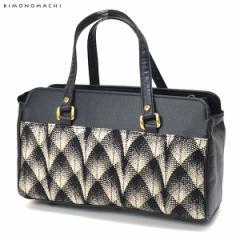 【あす着対応】 カジュアル 和装バッグ「黒×金色」 花しおり 普段使い カジュアルバッグ 着物バッグ [送料無料]
