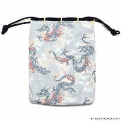粋也 信玄袋「白鼠色 波に龍」浴衣 着物に 日本製 男性巾着 和装小物 男性小物