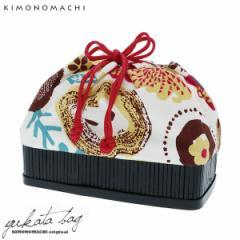 【あす着対応】 竹籠 巾着単品「りんごとお花」 京都きもの町 巾着バッグ 籠巾着 浴衣巾着