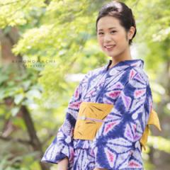 変わり織り 浴衣単品「青藍色 絞り風麻の葉」夏祭り、花火大会に ボヌールセゾン フリーサイズ