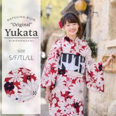 京都きもの町オリジナル 浴衣単品「赤マーガレット」レトロ 女性浴衣 綿浴衣 花火大会、夏祭り、夏フェスに