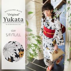 京都きもの町オリジナル 浴衣単品「黒マーガレット」レトロ 女性浴衣 綿浴衣 花火大会、夏祭り、夏フェスに