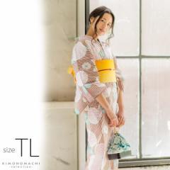 TLサイズ 浴衣単品「ラズベリーレッド ストライプに花」レディース浴衣 女性浴衣 お仕立て上がり浴衣 綿浴衣