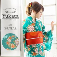 京都きもの町オリジナル 浴衣単品「青緑色 花の丸紋」女性浴衣 綿浴衣 レトロ