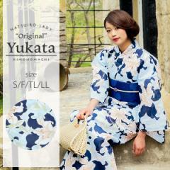 京都きもの町オリジナル 浴衣単品「ブルー 百合」女性浴衣 綿浴衣 レトロ