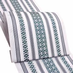 夏 八寸帯「白×緑色 献上柄」 お仕立て上がり帯 夏帯 八寸名古屋帯 ポリエステル帯