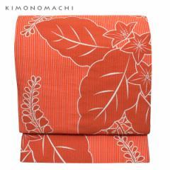 お仕立て上がり 京袋帯「朱赤ストライプに桐」 全通柄 カジュアル帯 洒落帯 袋名古屋帯