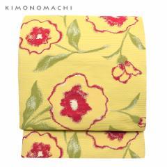 お仕立て上がり 京袋帯「クリームイエロー お花」 全通柄 カジュアル帯 洒落帯 袋名古屋帯