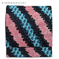 お仕立て上がり 京袋帯「乱菊と幾何学の斜め柄」 全通柄 カジュアル帯 洒落帯 袋名古屋帯
