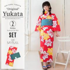 【Prices down】京都きもの町オリジナル 浴衣セット「赤色 鉄線」S、フリー、TL、LL 浴衣、帯の浴衣2点セット