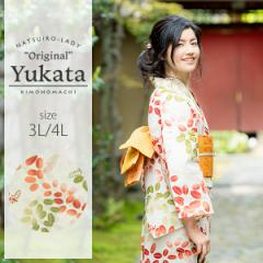 京都きもの町オリジナル 浴衣単品「赤×緑 萩」 3L、4L 大きいサイズ 女性浴衣 綿浴衣