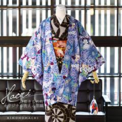 【あす着対応】 京都きもの町オリジナル 羽織単品「パープル 花とハリネズミ、リス」アンティーク調 フリーサイズ(Lサイズ)