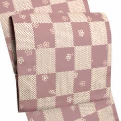 お仕立て上がり名古屋帯 八寸名古屋帯「ピンク 市松」 全通柄 洒落帯 八寸帯 カジュアル帯