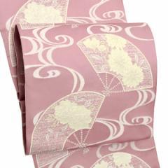 お仕立て上がり名古屋帯 八寸名古屋帯「ピンク 流水に扇」 全通柄 洒落帯 八寸帯 カジュアル帯
