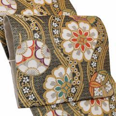 振袖 袋帯「黒色 立涌に花文」振袖に お仕立て上がり 礼装帯 振袖帯 [送料無料]