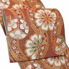 振袖 袋帯「臙脂色 立涌に花文」振袖に お仕立て上がり 礼装帯 振袖帯 [送料無料]