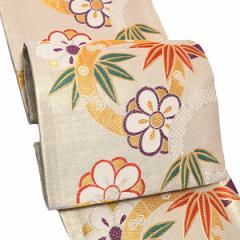 振袖 袋帯「白色 竹と梅」振袖に お仕立て上がり 礼装帯 振袖帯 [送料無料]