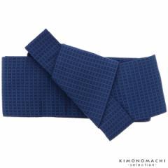 ワンタッチ 角帯「紺青色 格子」 作り帯 付け帯 浴衣帯
