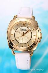 コーチ 腕時計 レディース ボーイフレンド ミニ ゴールド/ホワイトレザー 14501600