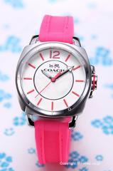 COACH コーチ 腕時計 レディース ボーイフレンド ミニ ホワイト(フルオピンク)/フルオピンクラバー 14502151
