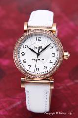 COACH コーチ レディース腕時計 マディソン シルバー×ローズゴールド/ホワイトレザー 14502401