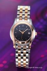 GUCCI グッチ 腕時計 レディース G-クラス クラシック ブラック×ローズゴールド YA055537