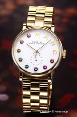 マークバイマークジェイコブス MARCJACOBS レディース腕時計 MBM3440 ベイカー グリッツ ホワイト×ゴールド(マルチカラー)