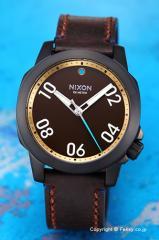 ニクソン NIXON 腕時計 レンジャー40 レザー オールブラック/ブラス/ブラウン A4712209