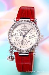 ヴィヴィアンウエストウッド 腕時計 Orb (オーブ) ライトシャンパン(Withクリスタル)/レッドレザー レディース VV006SLRD