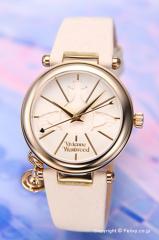 ヴィヴィアンウエストウッド 腕時計 オーブ2 クリームホワイト×ゴールド/クリームホワイトレザー レディース VV006WHWH