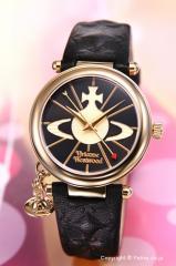 ヴィヴィアンウエストウッド 腕時計 レディース Orb II (オーブ2) ブラック×ゴールド/ブラックレザー VV006BKGD