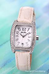 フォリフォリ 腕時計 レディース FOLLI FOLLIE シルバー(Withジルコニア)/アイボリーレザー S922ZI SLV/IVY