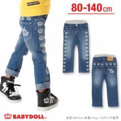 2/2一部再販 NEW 王冠デニムロングパンツ-ベビーサイズ キッズ ベビードール 子供服-9903K