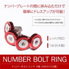 ナンバーボルトリング レッド 赤 1台分(4個) ナンバープレートボルト フェンダーワッシャー カラーワッシャー キャップ ナット