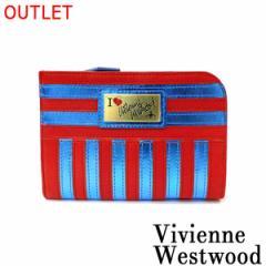 【即日発送】 Vivienne Westwood ヴィヴィアンウエストウッド ビビアン メタリックストライプ ハーフジップ 財布 レッド 2012