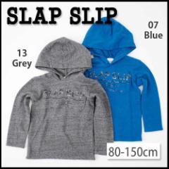 【12/22再値下げ】60%OFF【SLAP SLIP/スラップスリップ】粗挽き杢ネップ裏毛ロゴプリントフード付Tシャツ/80-150cm-st