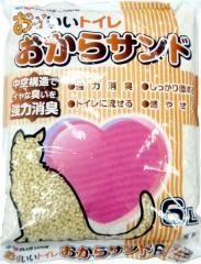 猫砂 プラスラブ おっいいトイレ おからサンド(トイレに流せる猫砂) 6L 【おからの猫砂/ねこ砂/ネコ砂】【猫の砂/猫のトイレ】