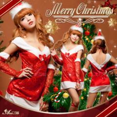 [即納] サンタ コスプレ サンタコス コスチューム サンタ衣装 セクシー 定番 ワンピ クリスマス 個性 2016 サンタクロース 赤 大人