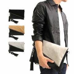 クラッチバッグ ハンドバッグ バイカラー フェイクレザー スエード 異素材ミックス メンズ ブラック グレー ベージュ SALE セール