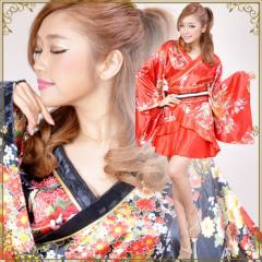 着物ドレス ミニ 浴衣 ゆかた キャバクラドレス 花魁 衣装 ダンス衣装 よさこい 和風柄花魁着物ミニドレス