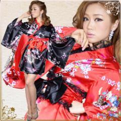 着物ドレス ミニ 浴衣 ゆかた キャバクラドレス 花魁 衣装 ダンス衣装 よさこい 和柄花魁着物ドレス