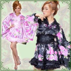 着物ドレス ミニ 浴衣 ゆかた キャバクラドレス 花魁 衣装 ダンス衣装 よさこい レースフリル和風花柄花魁着物ミニドレス