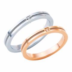 ペアリング ペア指輪 指輪 リング white clover ダイヤモンド ミルグレイン シンプル ステンレス SUS316L ゴールド × シルバー 送料無料