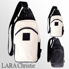 LARA Christie ララクリスティー ドレスデンコレクション ボディ バッグ 栃木レザー 本革 倉敷産帆布 送料無料