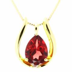 ネックレス レディース K18YG ダイヤモンド0.01ct  ガーネット0.5ct Velsepone(ベルセポーネ) nhg-324152-k18yg 送料無料