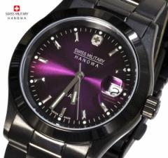 [送料無料]スイスミリタリー 腕時計メンズ エレガントブラック パープルML-189